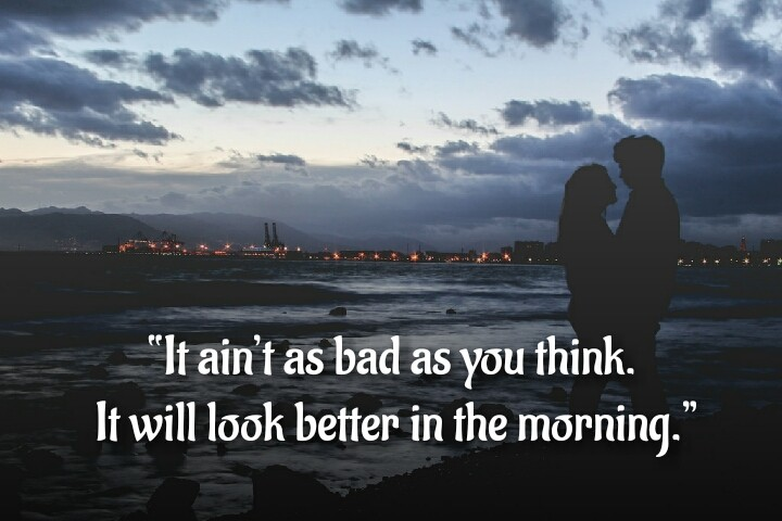 evening time a couple love written on quotes