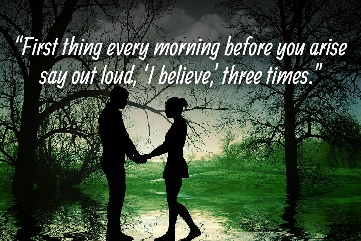 a couple with romantic mood in greenery written morning quotes