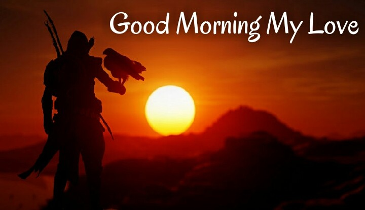 rising sun with a man keep eagle in hand wishes good morning